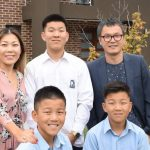 Hannah Park and Jason Jun with their kids Hoyeon, 17, Wooju and Taeyang, both 12, at their house in the Frankston High School zone. Picture: Lawrence PinderSource:News Corp Australia